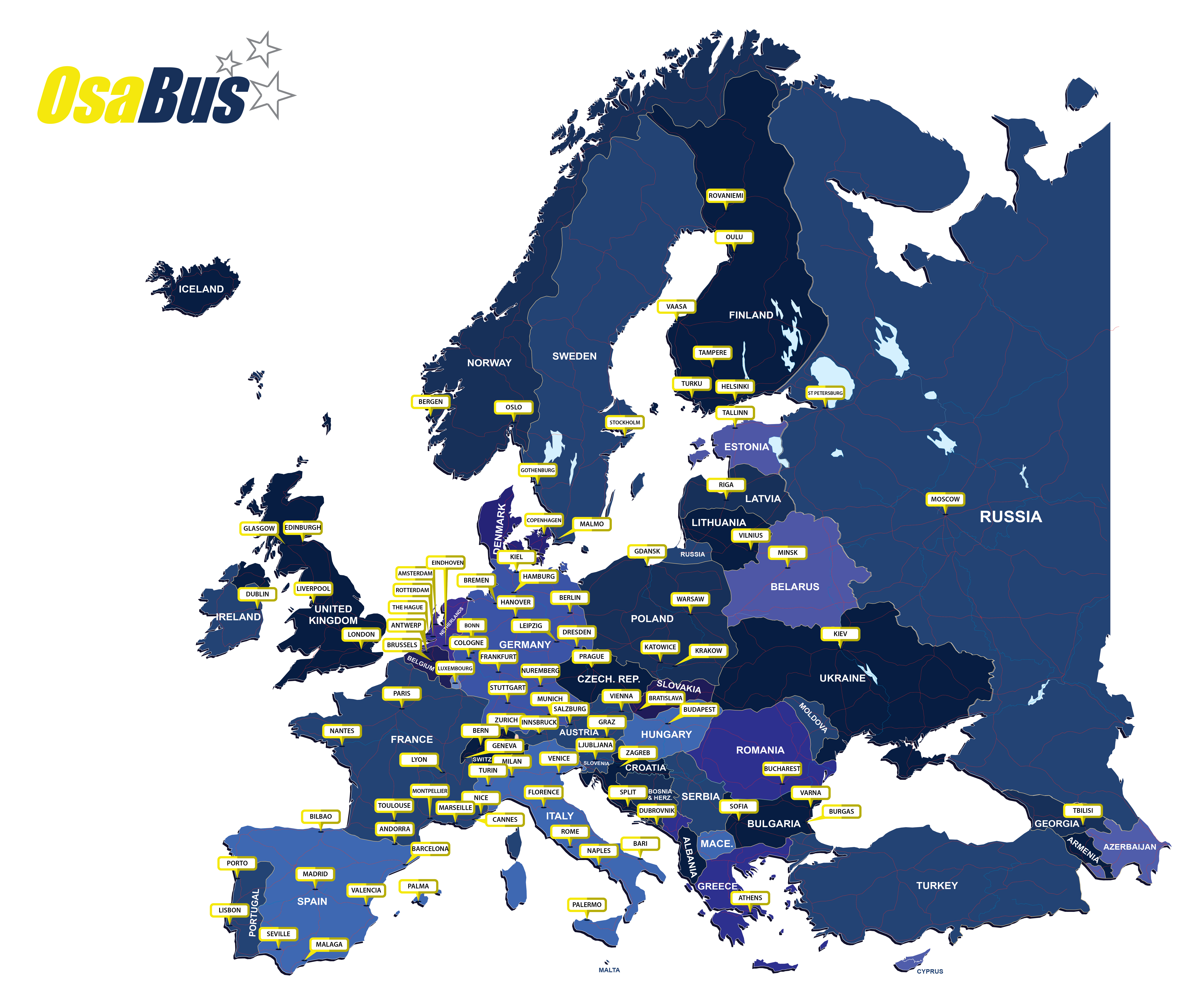OsaBus company service locations